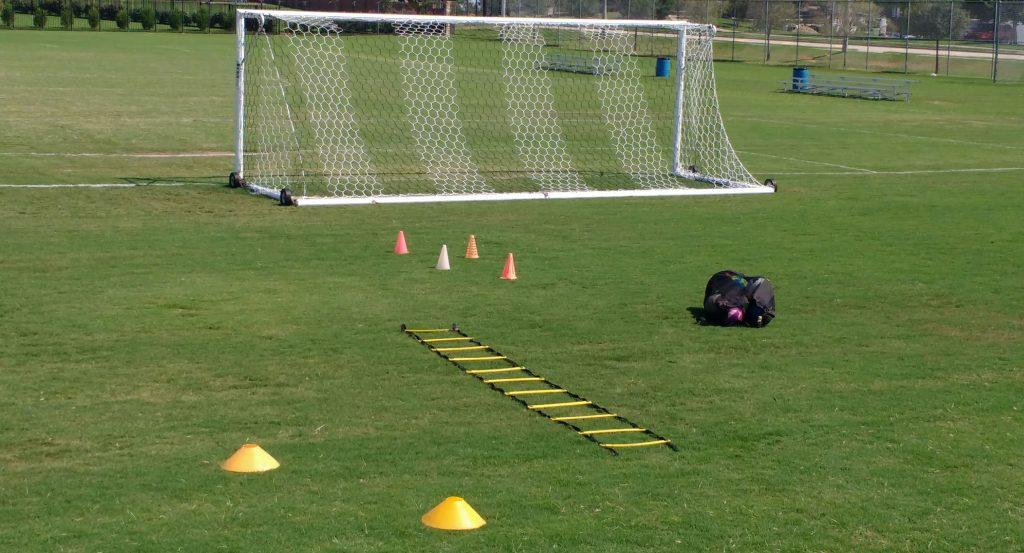 Soccer goal ladder cones ball bag balls grass field private soccer solo training gftskills