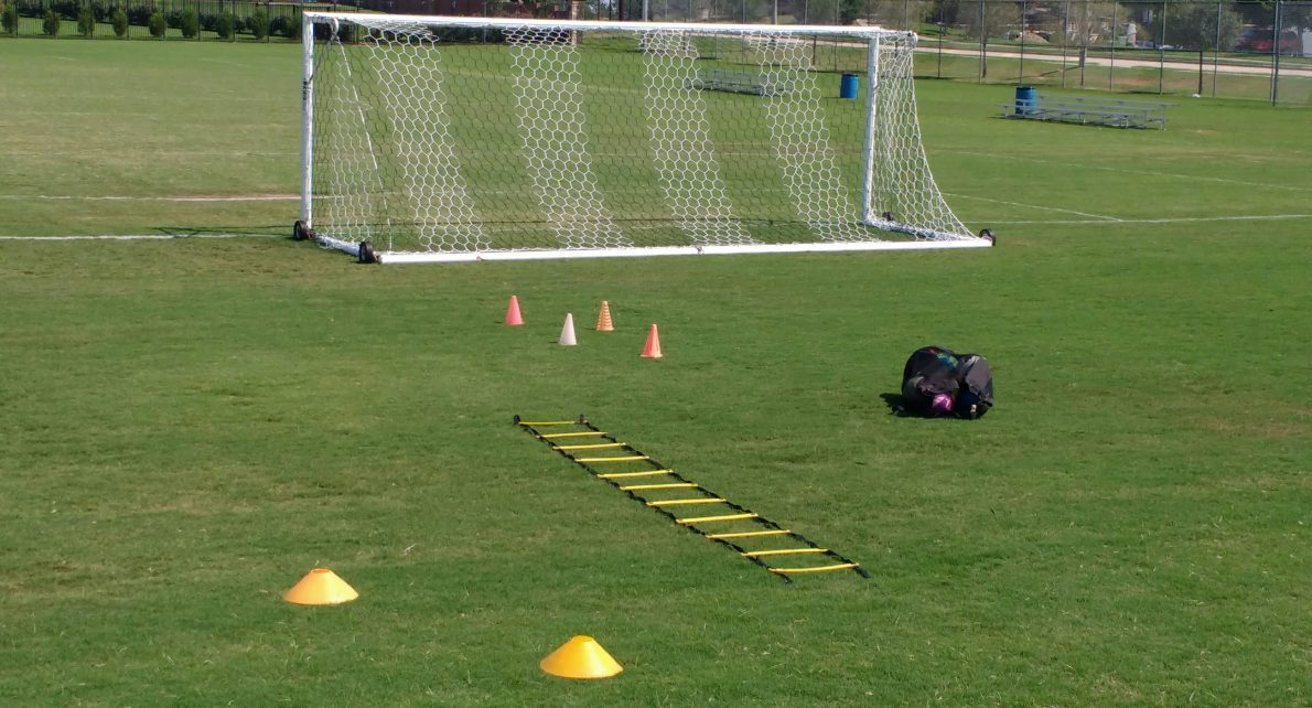 Soccer goal ladder cones ball bag balls grass field private soccer solo training gftskills