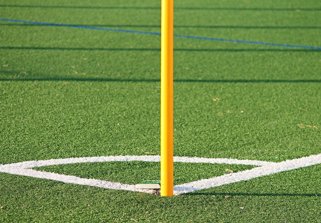 football soccer turf pitch field corner flag pole ankle injury