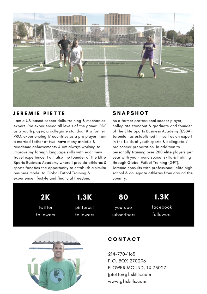 About Jeremie Piette, former professional soccer player & collegiate standout
