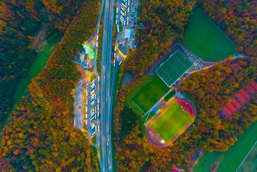 Soccer fields football basketball tennis court baseball