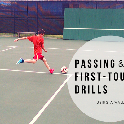 Soccer passing and first touch drills using a wall