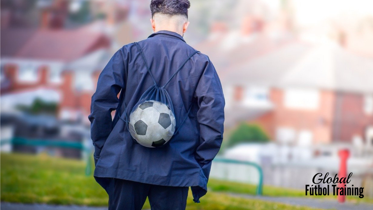 Kid with soccer ball in bag improve weak foot